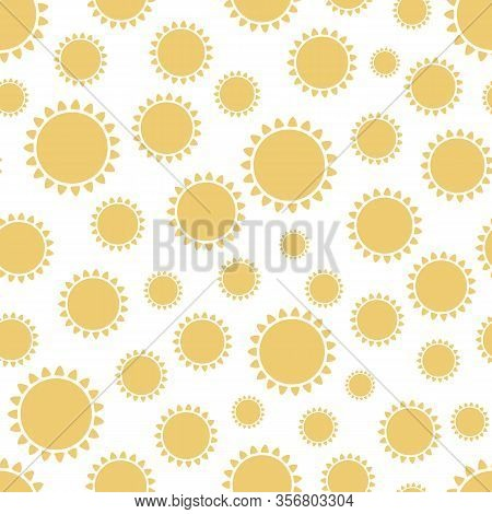 Sun Seamless Pattern Cute Sunny Yellow Summer Background Sun Symbols Wallpaper In Vector