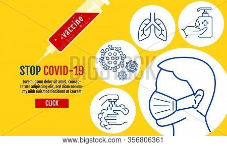 Stop Covid-19 Template Banner, People Wearing Protective Medical Mask For Prevent Virus Wuhan Covid-