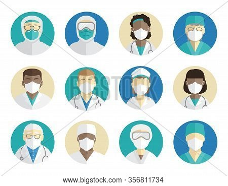 Medical Avatars Set. Doctors, Surgeons, And Nurses In Protective Masks. Protection During An Epidemi