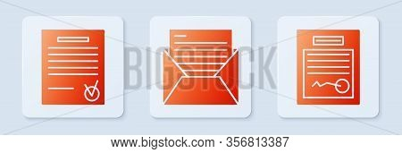 Set Mail And E-mail, Confirmed Document And Check Mark And Filled Form. White Square Button. Vector