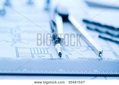 Business accessories on background of diagrams