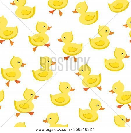 Ducklings, Seamless Pattern, Color, White, Vector. Yellow Ducklings On A White Field. Color, Flat Ve
