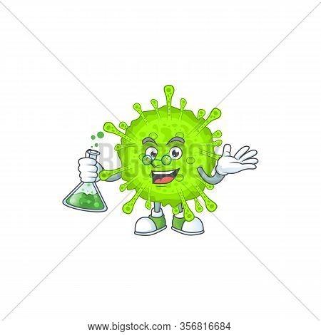 Orthocoronavirinae Brainy Professor Cartoon Design Grasp A Glass Tube