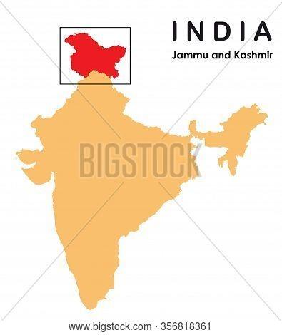 Jammu And Kashmir In India Map. Jammu And Kashmir Map Vector Illustration.