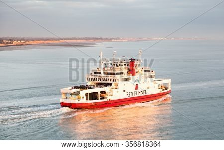 Southampton, England - October 29:  The Red Funnel Ferry Red Falcon Departs Southampton On October 2