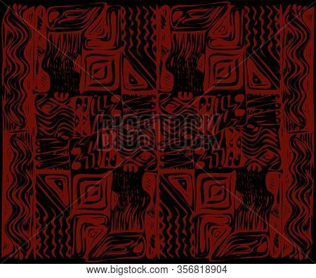 African Tribal Aborigines Red Ornament. Geometric Patterns. Vector Illustration