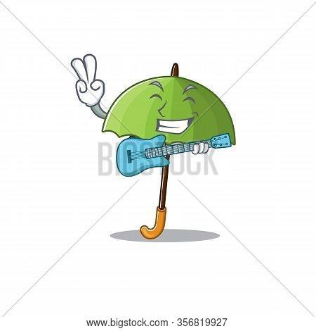 Supper Cool Green Umbrella Cartoon Playing A Guitar