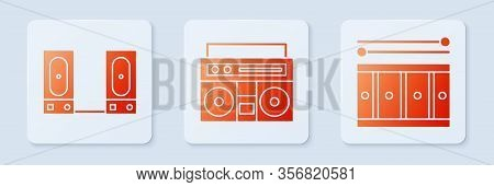 Set Home Stereo With Two Speakers, Stereo Speaker And Drum With Drum Sticks. White Square Button. Ve