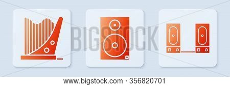 Set Stereo Speaker, Harp And Stereo Speaker. White Square Button. Vector
