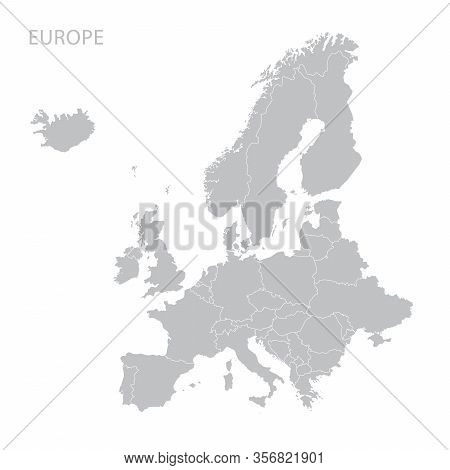Grey Political Europe Map Vector, Isolated On White Background.