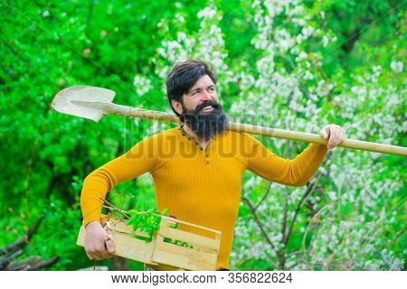 Gardening. Plants. Farm. Work In Garden. Spring. Gardener With Gardening Shovel. Work In Garden. Gar