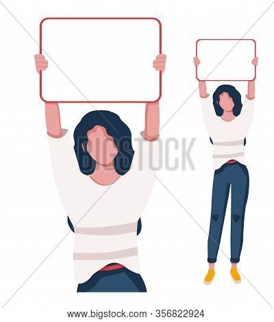 A Girl Holds A Poster To Demonstrate Something. Place For The Text. Vector Illustration To Demonstra