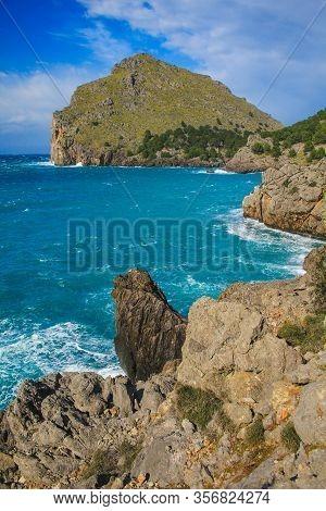 Coastal View Of Cala De Sa Calobra In Mallorca, Spain