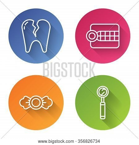 Set Line Broken Tooth, Dentures Model, Candy And Dental Inspection Mirror. Color Circle Button. Vect