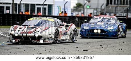 Le Mans / France - June 15-16 2019: 24 Hours Of Le Mans, Mr Racing Team, Ferrari 488 Gte Gteam, Race