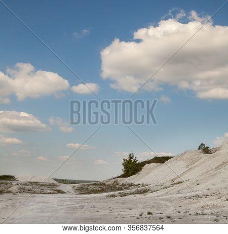 Chalk Mining In Sumy Region In Ukraine. Limestone Quarry. Open-cast Mining. Chalk Hills.