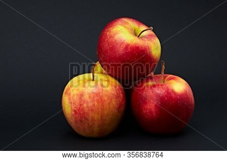 Beautiful Juicy Apples That Have Red Sides And A Natural Look, Healthy Food For The Human Body.
