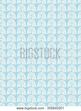 Cute Abstract Geometric Vector Pattern. White Arcs Isolated On A Light Blue Background. Funny Infant