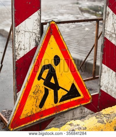 Road Work (roadwork). Traffic Sign. Road Construction. Close-up.
