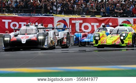 Le Mans / France - June 15-16 2019: 24 Hours Of Le Mans, Departure Of Cars At 15 Hours For The Race