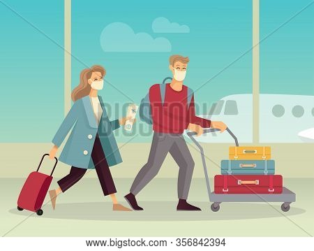 Guy And Girl In Protective Medical Masks With Luggage At The Airport. Flat Vector Image