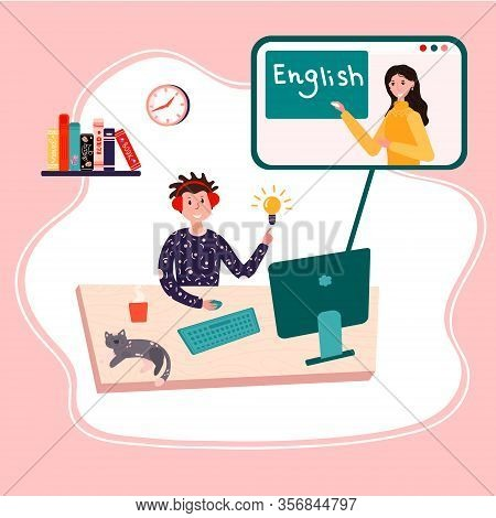 Online Education, English Class. Distance School. Student Is Learning English At Home. Pupil Is List