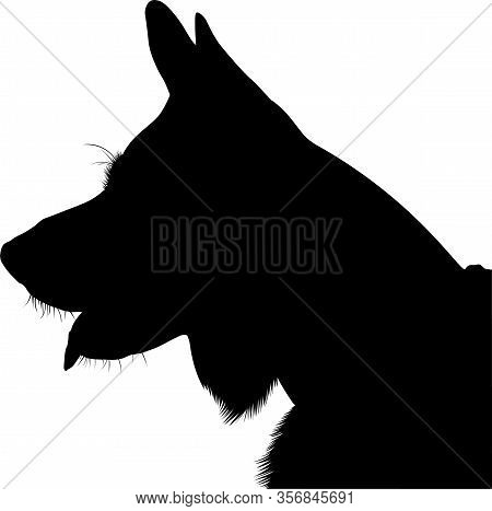 Shepherd Dog Silhouette Vector. German Shepherd. Shepherd Dog Portrait