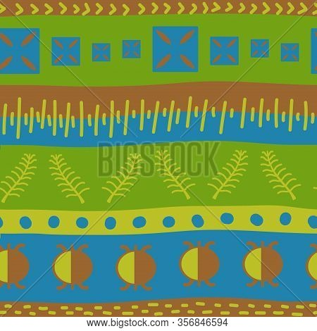 Vector Seamless Model With Ancient Tribal Ethnic Symbols Adinkra. Ritual Screen Printing Of African