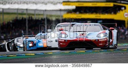 Le Mans / France - June 15-16 2019: 24 Hours Of Le Mans, Ford Gt & Porsche 911 Rsr, Race Of The 24 H