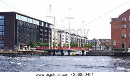 Copenhagen, Denmark - Jul 05th, 2015: The New Circle Bridge With Masts Like A Ship In Copenhagen Har