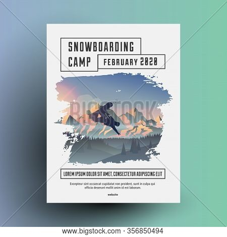 Snowboarding Camp Flyer Or Poster Design Template With Snowboard Rider Dark Silhouette On Mountains