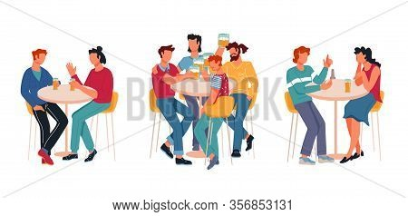 People Cartoon Characters, Friends And Couples In Restaurant Or Pub, Bar Drinking.