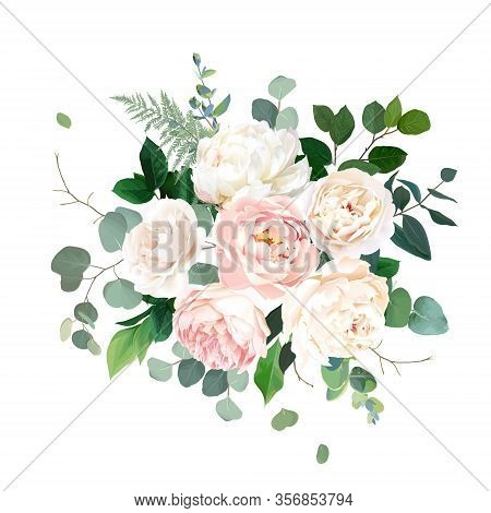 Dusty Pink Blush, White And Creamy Rose Flowers Vector Design Wedding Bouquet. Eucalyptus, Greenery.