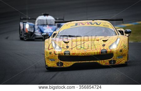 Le Mans / France - June 15-16 2019: 24 Hours Of Le Mans, Jmw Motorsport Team , Ferrari 488 Gte Gteam