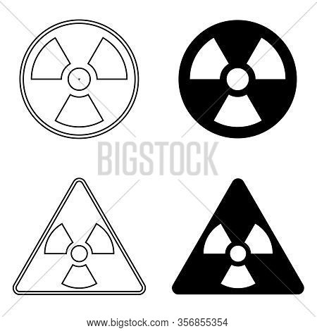 Sign Of Radiation, Caution Radiation. Vector, Cartoon Illustration Of Radiation Signs Isolated On A
