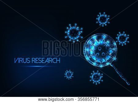 Futuristic Coronavirus Sars-cov2 Research Concept With Glowing Virus Cells Under Magnifying Glass