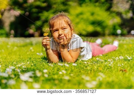 Young Caucasian White Girl Holding Yellow Buttercup Flower On Meadow, Lying On Field With Many Yello