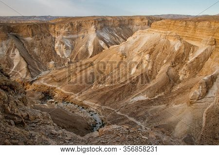 Dry Canyons Of Israeli Desert From The Top Of Masada Fortress