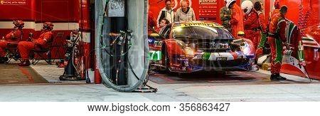 Le Mans / France - June 15-16 2019: 24 Hours Of Le Mans, Af Corse  Eam , Ferrari 488 Gte Evo In The