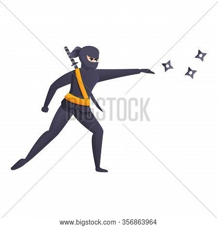 Ninja Throw Stars Icon. Cartoon Of Ninja Throw Stars Vector Icon For Web Design Isolated On White Ba
