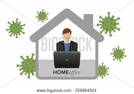 Man In Home Office Quarantine Virus Info Graphic Vector Illustration Eps10