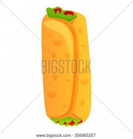 Mexican Burrito Icon. Cartoon Of Mexican Burrito Vector Icon For Web Design Isolated On White Backgr