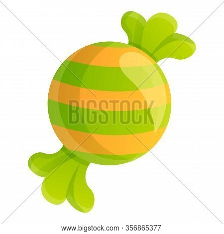 Green Candy Icon. Cartoon Of Green Candy Vector Icon For Web Design Isolated On White Background