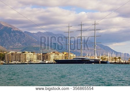 Tivat, Montenegro - March 5, 2020:  View Of The Bay Of Kotor Near The City Of Tivat And Sailing Yach
