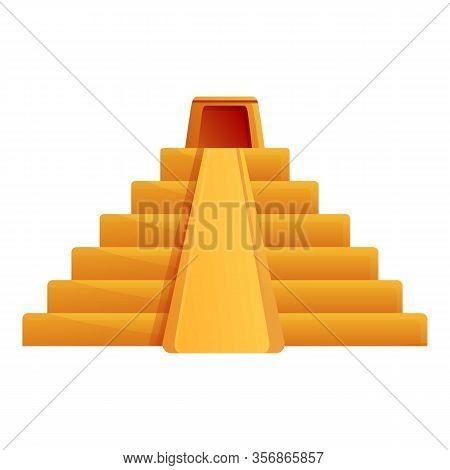 Maya Pyramid Icon. Cartoon Of Maya Pyramid Vector Icon For Web Design Isolated On White Background