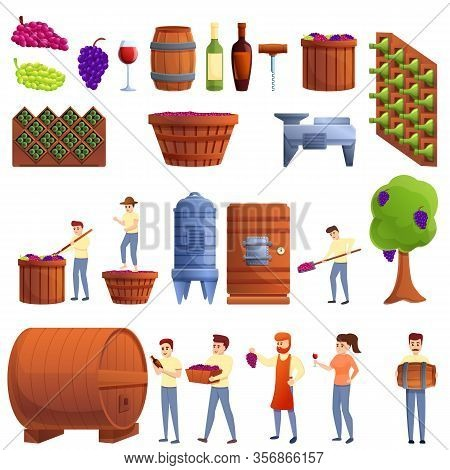 Winemaker Icons Set. Cartoon Set Of Winemaker Vector Icons For Web Design