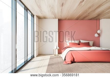 Interior Of Luxury Bedroom With White And Pink Walls, Wooden Floor And Ceiling, Comfortable King Siz