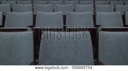Empty Rows Of Seats In Auditorium Or Concert Hall.close Up,selective Focus. Concept Of Quarantine,cu