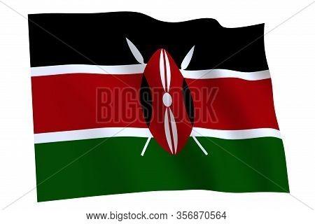 Kenya Flag, 3d Render. Flag Of Kenya Waving In The Wind, Isolated On White Background.