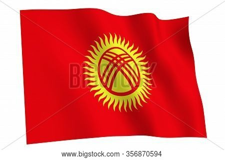 Kyrgyzstan Flag, 3d Render. Flag Of Kyrgyzstan Waving In The Wind, Isolated On White Background.